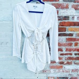 Sabo Luxe White Romper Tie Front Bell Sleeves